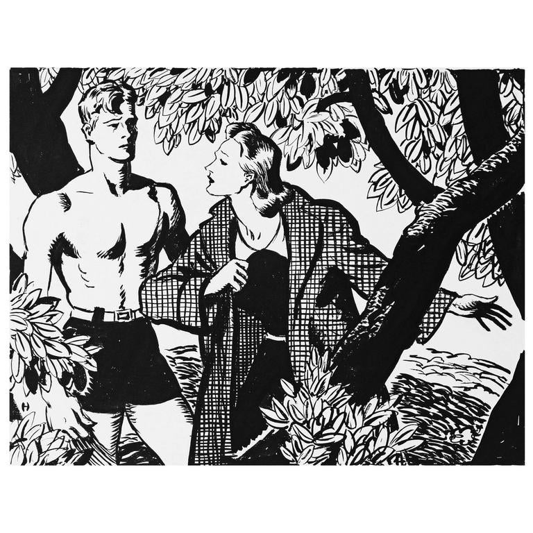 """""""Under the Tree,"""" Striking Mid-Century Scene by Heitland for Liberty Magazine For Sale"""