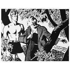 """Under the Tree,"" Striking Mid-Century Scene by Heitland for Liberty Magazine"