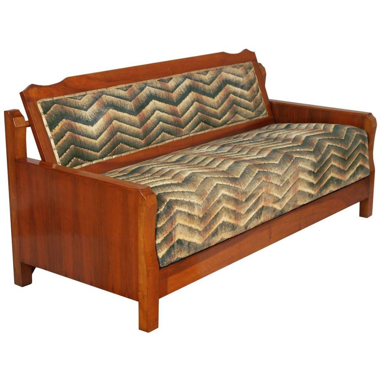 1930s Art Deco Settee, Convertible Sofa Bed in Walnut