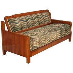 1920s Art Deco Ottoman, Convertible Sofa Bed in Walnut, restored