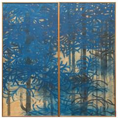 Pair of Fusuma 'Sliding Door' Panels, Blue Spruce