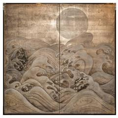 Japanese Two-Panel Screen, Wave and Moon on Silver
