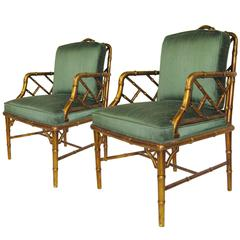 Mid-Century Faux Bamboo Armchairs Attributed to Arturo Pani. Mexico, circa 1960