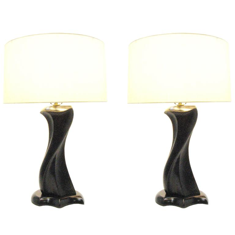 Pair of Ebonized Sweeping Wood Table Lamp by 20th Century Design Studios For Sale