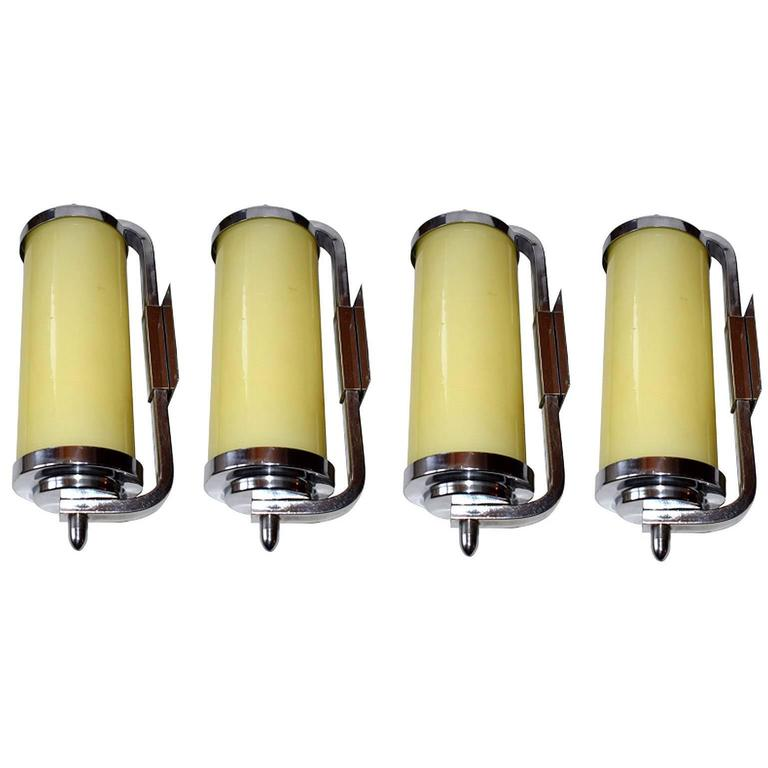 Rare Set of Four 1930s Art Deco Tubular Wall Lights or Sconces at ...