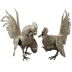 Antique German Silver Fighting Cockerel Ornaments