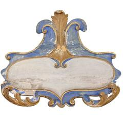 Italian 19th Century Rococo Style Blue and White Wall Ornament with Volutes