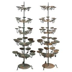 Large Size Spanish 19th Century Iron Candle Trees with Green Color