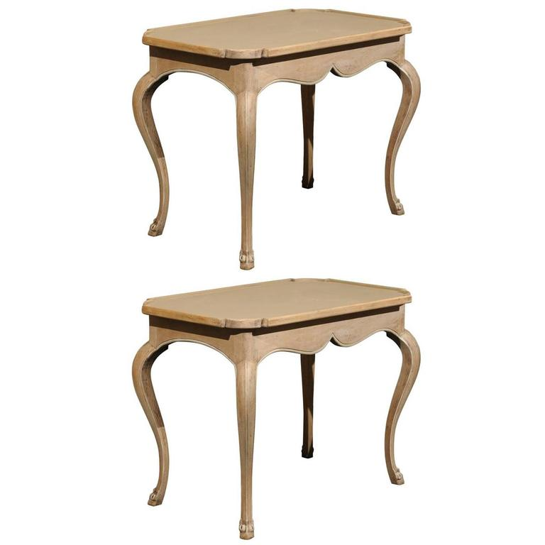 Pair of French Painted Wood Tray Top Side Tables with Cabriole Legs