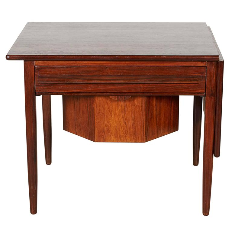 Mid Century Sewing Table with Drop Leaf 1
