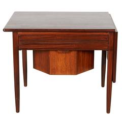 Mid Century Sewing Table with Drop Leaf