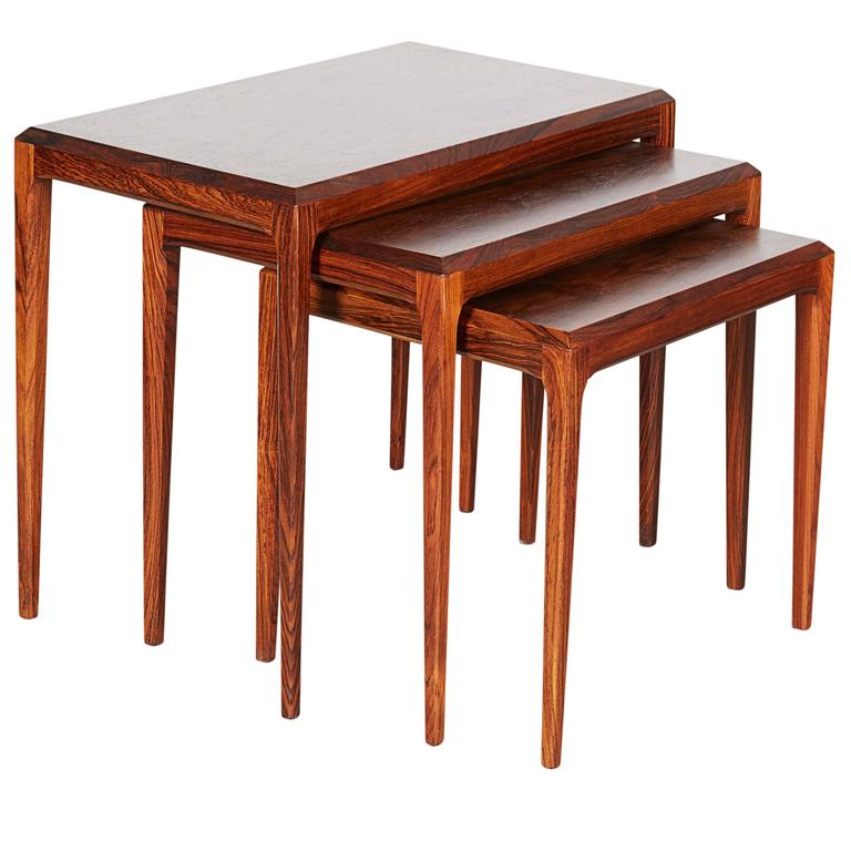 Rosewood Nesting Tables by Johannes Andersen 1