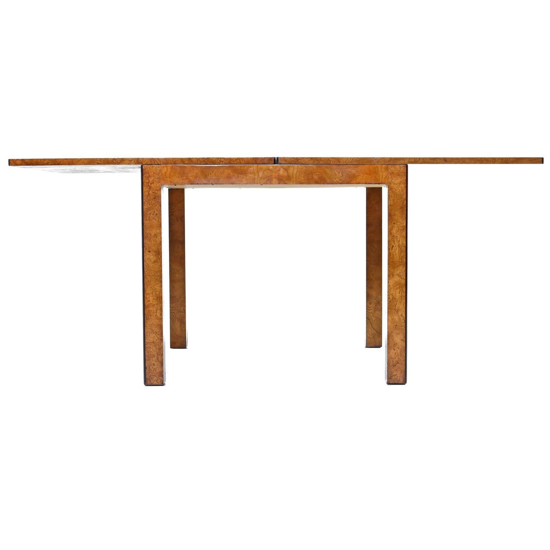 John Widdicomb Parsons Style Burl Wood Flip Top Dining Table