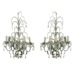 French Vintage Painted Metal and Crystal Five-Light Sconces