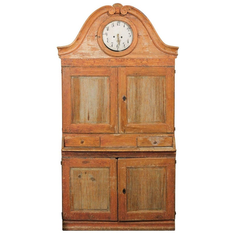Swedish Early 19th C. Karl Johan Clock Cabinet with Original Paint & Clock Face For Sale
