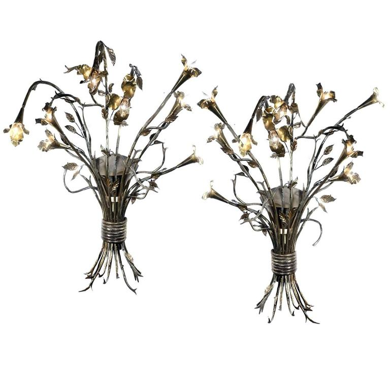 Huge Pair of Handmade Hollywood Regency Bouquet Sconces For Sale
