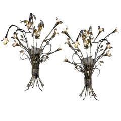 Huge Pair of Handmade Hollywood Regency Bouquet Sconces