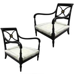 Pair French Mid-Century Modern Neoclassical Wood Lounge Chairs by Maison Jansen