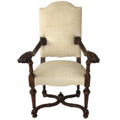 Upholstered Hand Carved Walnut Side Chair, France, 1920s