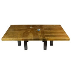 Stunning Acid Etched Polished Brass Coffee Table by Lova Creation