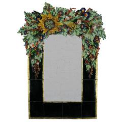 Large Contemporary George Alexander Floral Ceramic Mirror