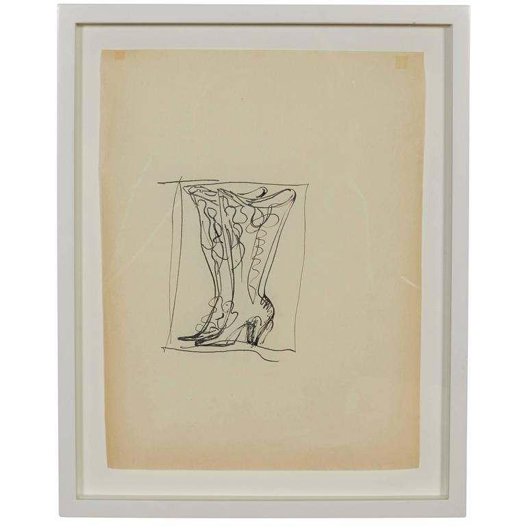 Gio Ponti Drawing of Boots for Christofle, Paris, 1956