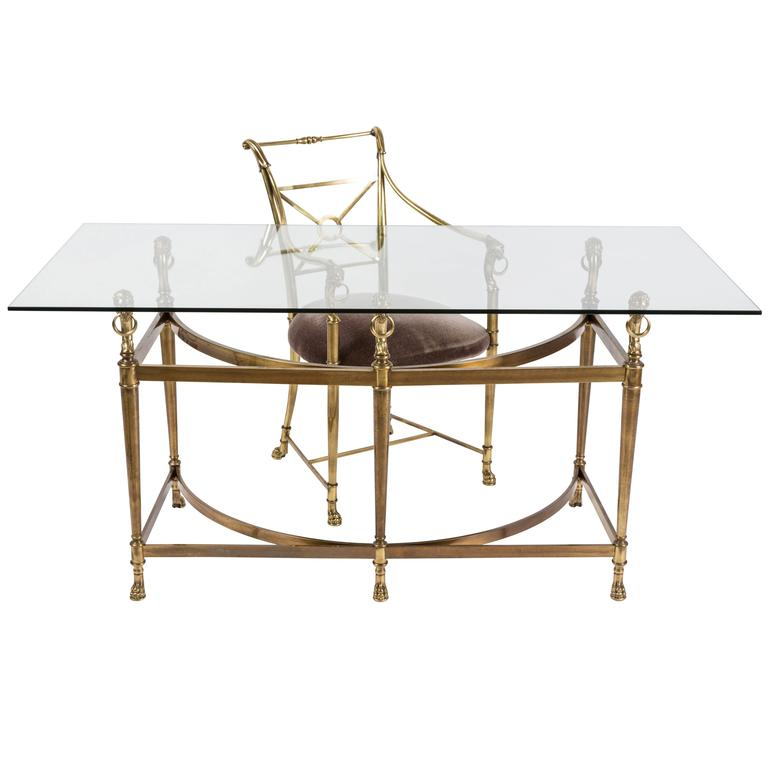 Vintage Empire Style Brass And Glass Desk And Matching Chair At 1stdibs