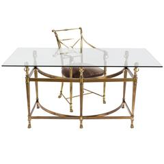 Vintage Empire Style Brass and Glass Desk and Matching Chair