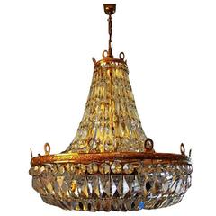 Monumental Basket Crystal Chandelier by Palwa Gold-Plated, 1970s, Germany