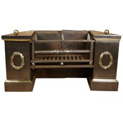 Unusual Regency Fire Grate With Cast Brass Detailing