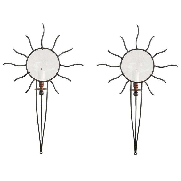 """Soleil Edition"" Wrought Iron Sconces by André Dubreui For Sale"