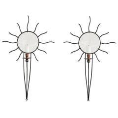 """Soleil Edition"" Wrought Iron Sconces by André Dubreui"