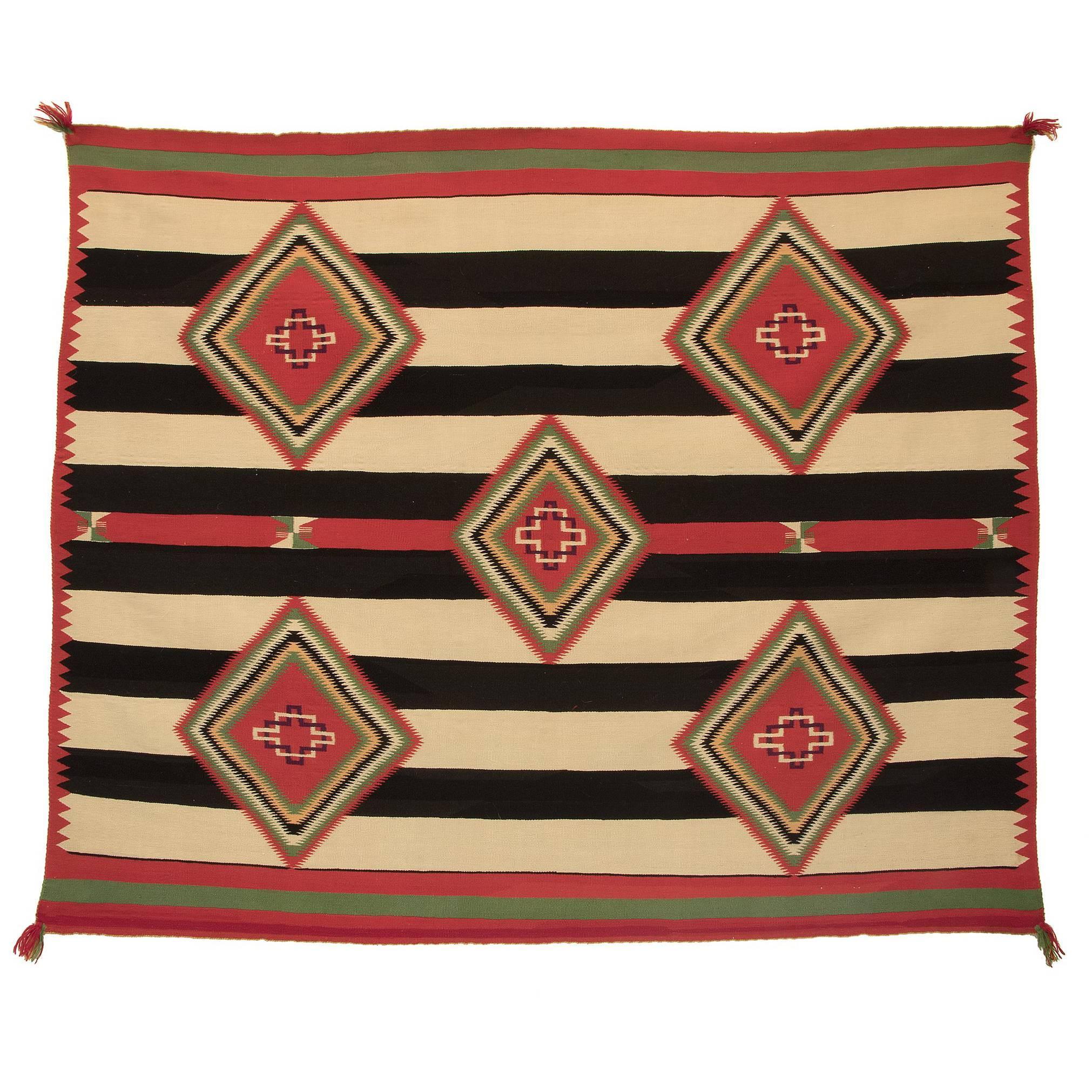 Native American Navajo Chief's Blanket, Germantown Wool, 19th Century