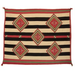 Native American Navajo Chief's Blanket, Germantown Wool, 19th Century