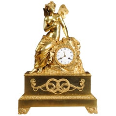 Early Large Ormolu Clock Psyche and the Butterfly Silk Suspension Movement