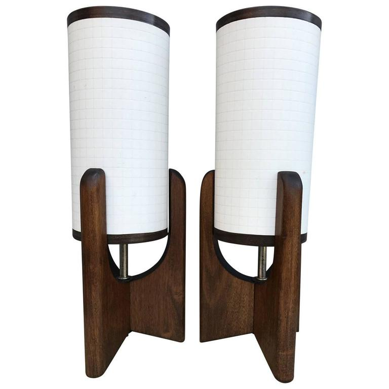 Pair Of Small Mid Century Bedside Table Lamps For