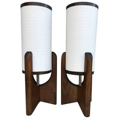 Pair Of Small Scandinavian Style Mid-Century Modern Bedside Table Lamps