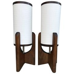 Pair of Small Mid-Century Bedside Table Lamps