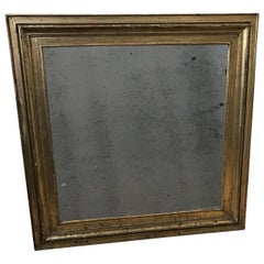 Square 19th Century Empire Wall Mirror In Gilded Frame