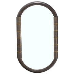 Heavy Bronze Oval Racetrack Shape Mid Century Modern Mirror