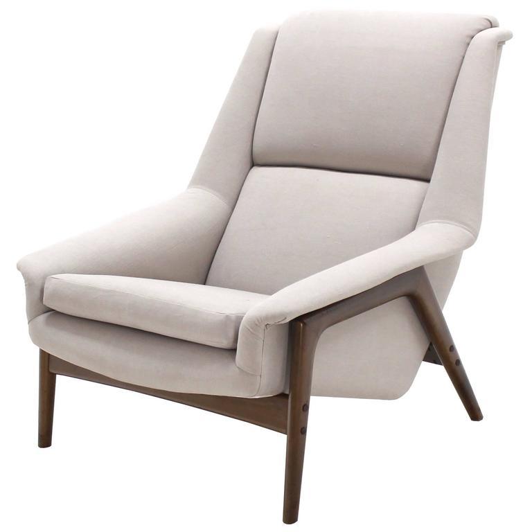 Danish Mid Century Modern New Upholstery Lounge Chair Teak Frame