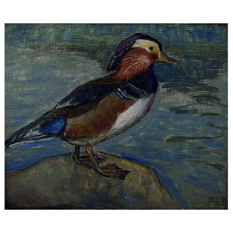 Danish Artist, Dated 1918 Mandarin Duck, Oil on Canvas For Sale