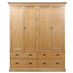 English Large-Size Natural Wood Storage Cabinet w/Drawers, Cleanly Designed