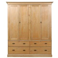 English Large Size Vintage Natural Wood Cabinet, Four Doors and Drawers