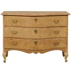 Swedish 18th Century Period Rococo Serpentine Oak Commode