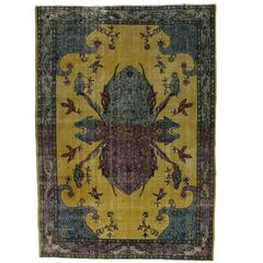 Distressed Vintage Turkish Sivas Beetle Rug with Contemporary Modern Style