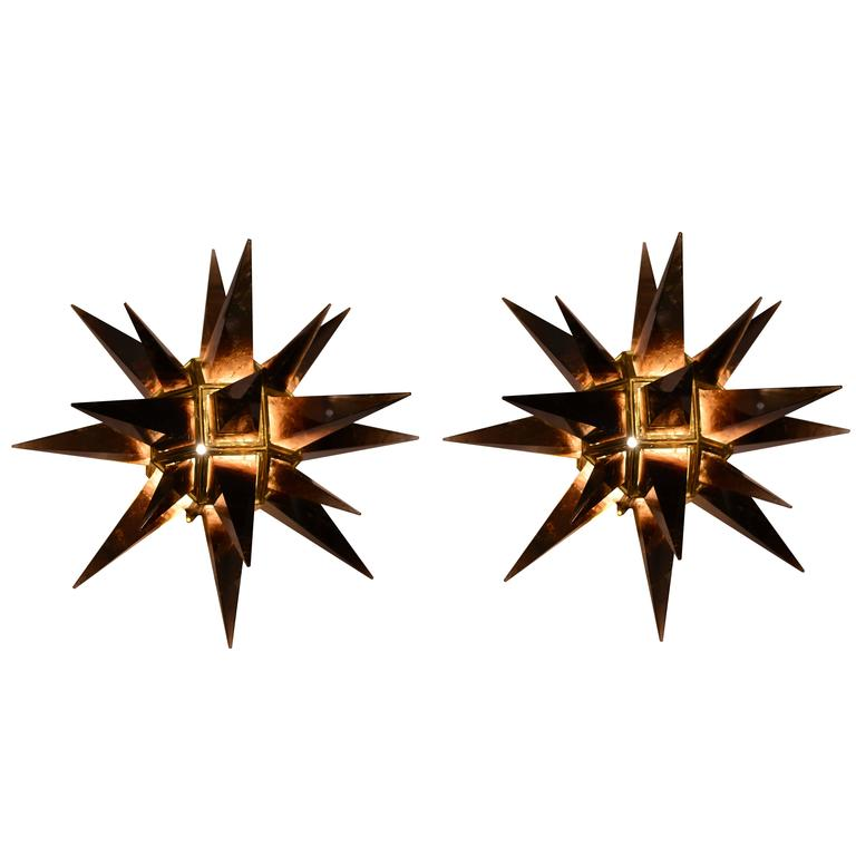 Pair of Contemporary Smoky Brown Rock Crystal Sconces