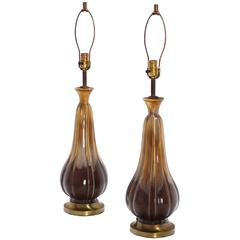 Pair of Mid Century Modern Glazed Brown Pottery Table Lamps