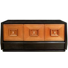 Italian Three-Door Credenza with Copper Pulls, 1940s