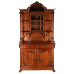 French Art Nouveau Finely Carved Walnut Buffet Display Cabinet, circa 1900
